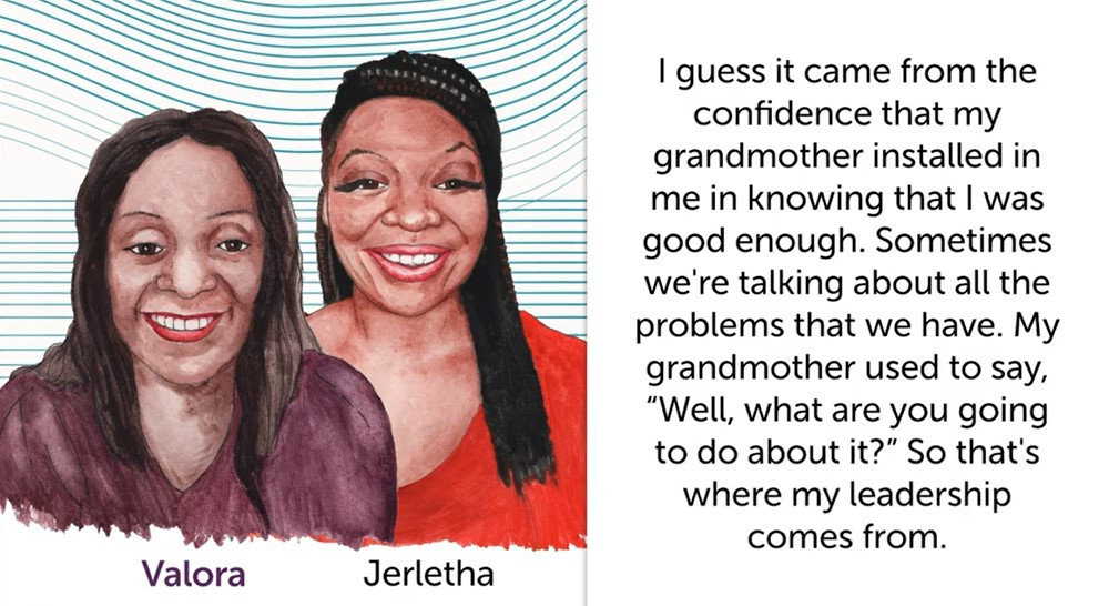 Split visual: An illustration of two Black women standing side by side one the right and a quote from the audio on the left